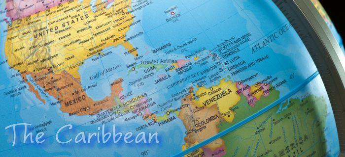 Caribische gebied op de aardbol