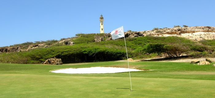 Golf hole en de beroemde Californian Lighthouse