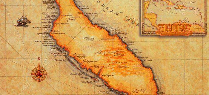 Een oude kaart van Aruba